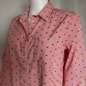 GAP Tops - Gap Boyfriend Fitted Shirt Red White & Blue Large